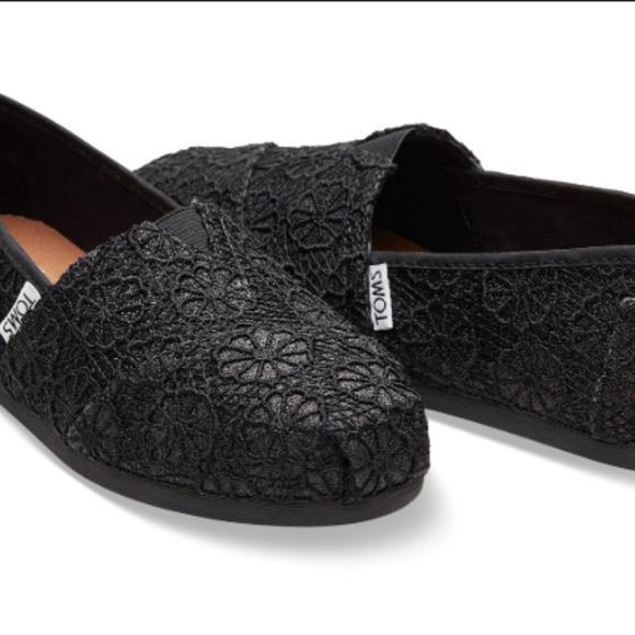 Toms Shoes Black Crochet Glitter Womens Classics Poshmark
